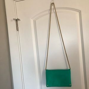 Green crossbody bag.